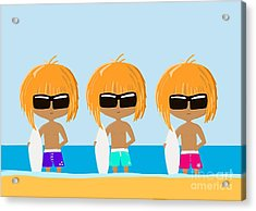 The Surfing Triplets Acrylic Print