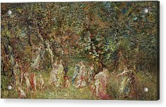 The Swing Acrylic Print by Adolphe Joseph Thomas Monticelli
