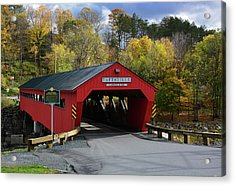 The Taftsville Covered Bridge Acrylic Print by Mike Martin