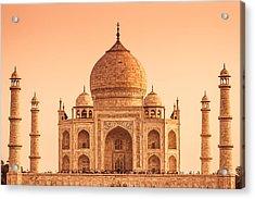 The Taj Mahal Of India In Warm Tones Acrylic Print by Nila Newsom