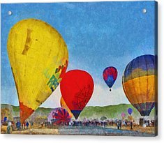 Acrylic Print featuring the digital art The Taos Mountain Balloon Rally 6 by Digital Photographic Arts