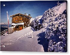 The Tavern On Untersberg Mountain Salzburg In Winter Acrylic Print by Carol Japp