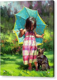 Acrylic Print featuring the painting The Teal Umbrella by Steve Henderson