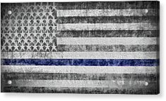 Acrylic Print featuring the digital art The Thin Blue Line American Flag by JC Findley