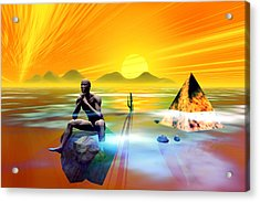 Acrylic Print featuring the digital art The Thinker by Shadowlea Is
