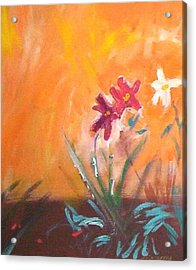 Acrylic Print featuring the painting The Three Daisies by Winsome Gunning
