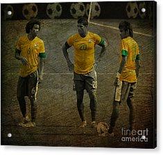 The Three Kings Marcelo Hulk Neymar Os Tres Reis  Acrylic Print by Lee Dos Santos