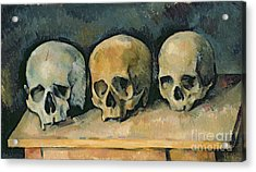 The Three Skulls Acrylic Print by Paul Cezanne