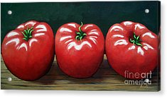 The Three Tomatoes - Realistic Still Life Food Art Acrylic Print by Linda Apple