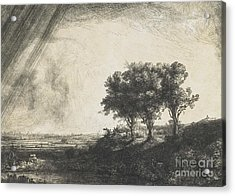 The Three Trees Acrylic Print by Rembrandt
