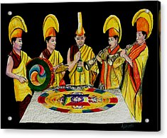 Acrylic Print featuring the drawing The Tibetan Monks At Lilydale Assembly by Albert Puskaric