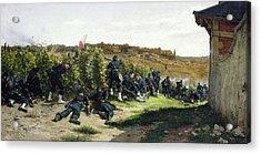 The Tirailleurs De La Seine At The Battle Of Rueil Malmaison Acrylic Print by Etienne Prosper Berne-Bellecour