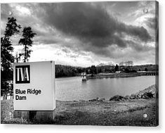 The Top Of Blue Ridge Dam In Black And White Acrylic Print