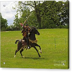 The Toss A Squire Throws A Javelin From Horseback Acrylic Print by Louise Heusinkveld