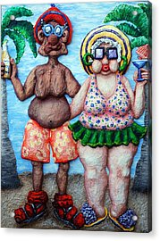 The Tourists Acrylic Print by Alison  Galvan