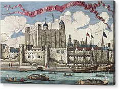 The Tower Of London Seen From The River Thames Acrylic Print by English School