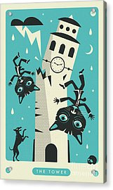 The Tower Tarot Card Cat Acrylic Print