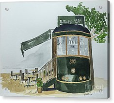 Acrylic Print featuring the painting The Tram Cafe by Eva Ason