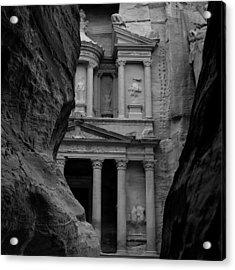 The Treasury - Petra Acrylic Print by Peter Dorrell