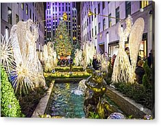 The Tree And Fountain Acrylic Print by Andrew Kazmierski