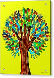The Tree Of Hands - Pa Acrylic Print by Leonardo Digenio
