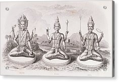 The Trimurti Or Hindu Trinity Acrylic Print by English School