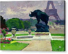 The Trocadero Gardens And The Rhinoceros Acrylic Print by Jules Ernest Renoux