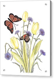 The Tulip And The Butterfly Acrylic Print by Stanza Widen