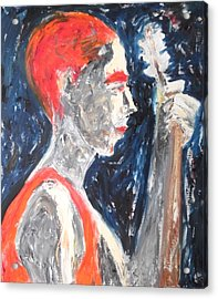 Acrylic Print featuring the painting The Turkish Baglama Player by Esther Newman-Cohen