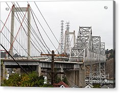 The Two Carquinez Bridges At Crockett And Vallejo California . Aka Alfred Zampa Memorial Bridge . 7d8919 Acrylic Print