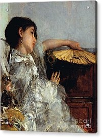 The Two Dolls Or Young Or Oriental Girl With Fan, 1876 Acrylic Print by Antonio Mancini