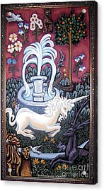 The Unicorn And Garden Acrylic Print by Genevieve Esson