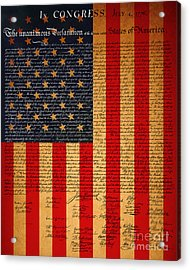 The United States Declaration Of Independence And The American Flag 20130215 Acrylic Print by Wingsdomain Art and Photography