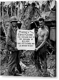 The U.s. Marines Salute The U.s. Coast Acrylic Print by Stocktrek Images