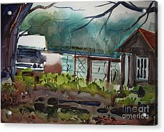 Acrylic Print featuring the painting The Vegetable Patch Matted Glassed Framed by Charlie Spear