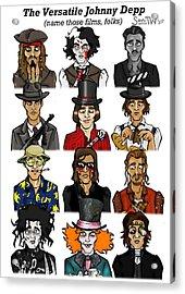 The Versatile Johnny Depp Acrylic Print by Sean Williamson