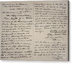 The Victory Of Death Letter Written By The Alamo Commander William Barret Travis, 1836  Acrylic Print