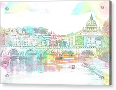 The View From Castel Sant'angelo Towards Ponte Sant'angelo, Brid Acrylic Print