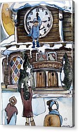 The Village Clock Acrylic Print by Mindy Newman