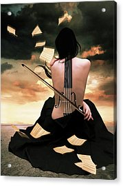 The Violin Song Acrylic Print by Mihaela Pater