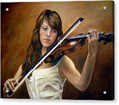The Violinist Acrylic Print by Anne Kushnick