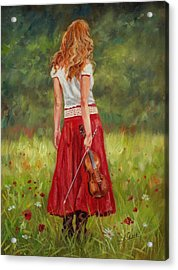 The Violinist Acrylic Print by David Stribbling