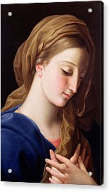 The Virgin Annunciate Acrylic Print by  Pompeo Girolamo Batoni