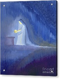 The Virgin Mary Cared For Her Child Jesus With Simplicity And Joy Acrylic Print by Elizabeth Wang