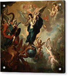 Acrylic Print featuring the painting The Virgin Of The Apocalypse by Miguel Cabrera