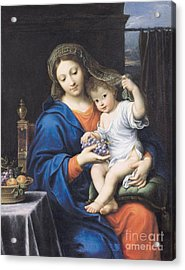 The Virgin Of The Grapes Acrylic Print by Pierre Mignard