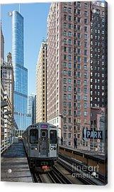 The Wabash L Train At Eye Level Acrylic Print