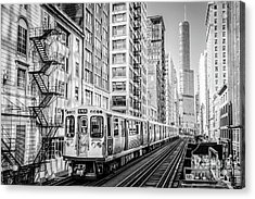 The Wabash L Train In Black And White Acrylic Print