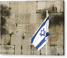 The Wailing Wall And The Flag Acrylic Print by Yoel Koskas