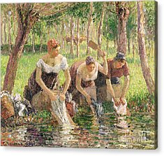 The Washerwomen Acrylic Print by Camille Pissarro